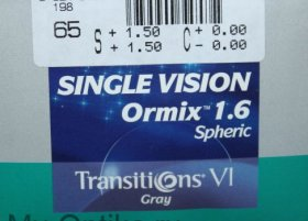 Линза Essilor Ormix 1.61 Transitions VII Grey